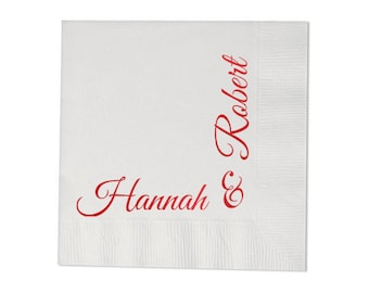 100 Personalized Napkins Wedding Custom Printed Hostess Gift Anniversary Beverage, Luncheon, Dinner & Guest Towels Avail!