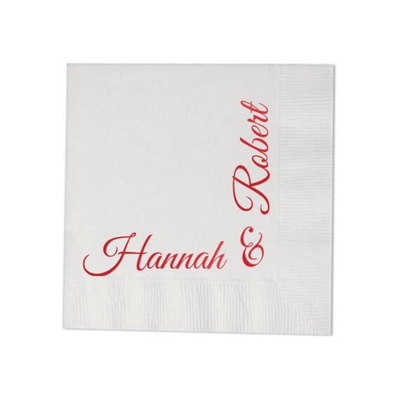 100 personalized napkins wedding custom printed hostess gift