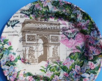 French inspired Decoupaged plate