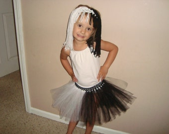 Cruella Deville inspired tutu skirt and wig headband set, great for costumes and dress up!