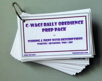 C-WAGS Rally Obedience Prep Pack - 58 cards with current signs, sign descriptions, and scoring;  Rally O dog obedience