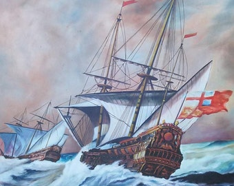 Old Nautical Ship Seascape English Sailboats Oil Painting Vintage Boats