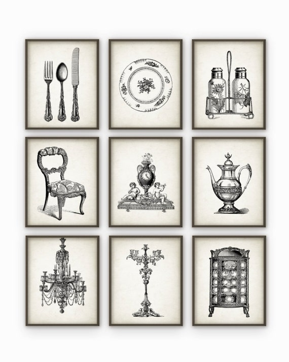 Dining room art prints set of 9 vintage home by quantumprints for Dining room art prints