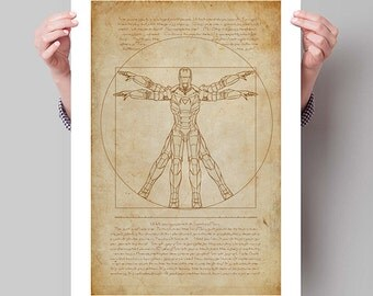 "IRON MAN Inspired Vitruvian Iron Man Minimalist Movie Poster Print - 13""x19"" (33x48 cm)"