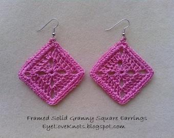 Medium Framed Solid Granny Square Earrings in Tropical Pink - Crocheted Earrings - Crocheted Granny Square Earrings