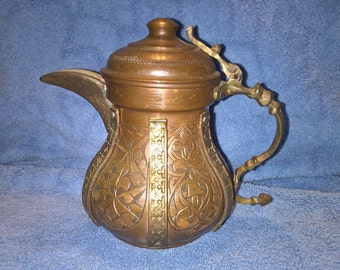 Vintage Copper and Mixed Metal Teapot