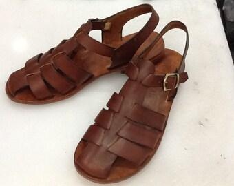 CACUS : All Leather Gladiator Flat Sandal Handmade leather sandal custom size available