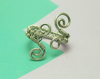 Wire wrapped silver swirl adjustable ring