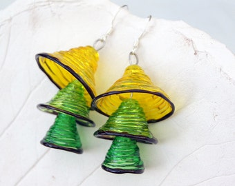 Yellow green bells lampwork earrings, glass bell earrings, yellow green earrings, multicolor earrings, transparent earrings, dangle earrings