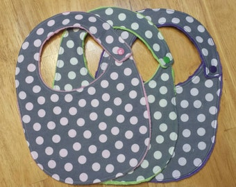 Gray and white polka dot bibs, set of 3, pink green and purple, baby shower gift