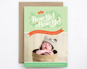 Birth Announcement Boy or Girl - Gender Neutral - Hear Ye! Hear Ye! in Fern Green & Red-Orange