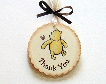Winnie the Pooh, Thank You Tags, Baby Shower, Birthday Party, First Birthday, 2 Inch, Set of 6 or 12