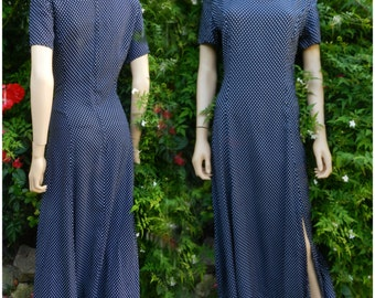 Vintage Dress Fits todays UK  10 US 8 1980,S 1940,s Style Polka Dot Dress Navy White Spots