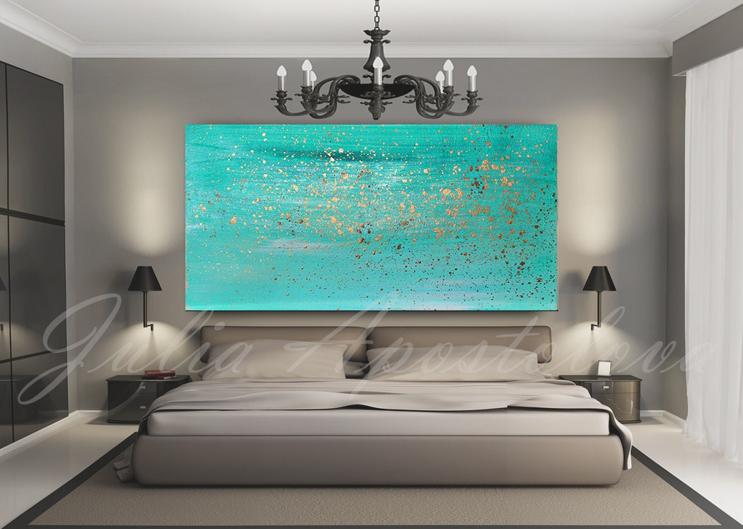 turquoise painting minimalist painting print wall art turquoise home decor art - Home Decor Art