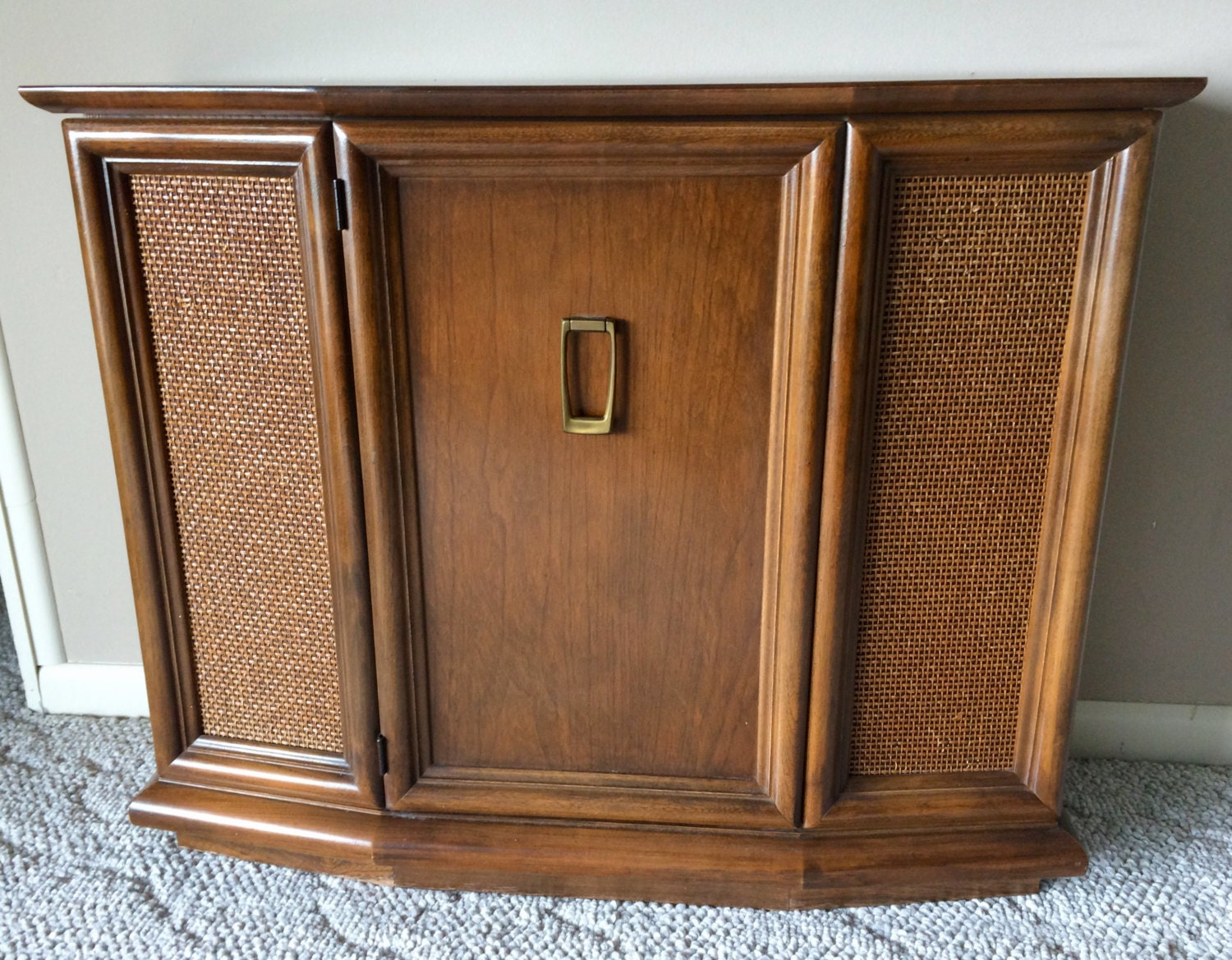 mid century small entryway console cabinet with cane front