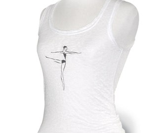 """CLOSEOUT *** Womens Small *** White Burn-out Tank Top """"Ballet Arabesque"""". Dancewear top for leotard cover up."""
