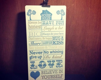 Family House Rules ~ metal plaque
