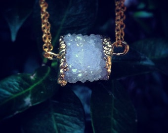 STARGAZER // Natural White Crystal Druzy Pendant Edged in 24k Gold on 14k Gold Filled Chain // Druzzy Agate Geode // Festival Boho Wear