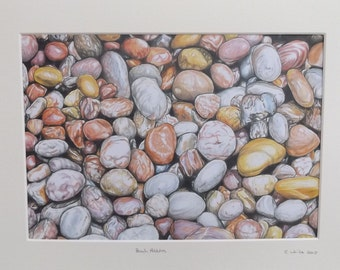 Mounted limited edition colour print of beach pebbles drawing