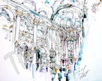 LVIV. UKRAINIAN art PRINT. Church of the Jesuits (Lviv). Interior. Print  from original watercolor painting.