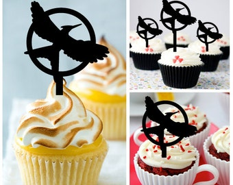 Ca352 New Arrival 10 pcs/Decorations Cupcake Topper/ The Hunger Games logo /Wedding/Props/Party/Food & drink/Vintage/Fun/Birthday/Shop