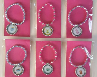 Adorable Shopkins Beaded Bottle cap bracelets Set of 8 Birthday party favors