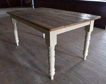 Reclaimed Chestnut Farm Dining Table, Low VOC Finish, Handmade, Custom Sizes and Colors
