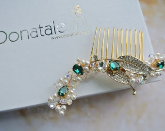 EMERALDINE  - Wedding Hair Piece Wedding Headpiece Emerald Green hair Comb Gold Bridal Hair Comb Pearl Hair Comb Wedding Hair Accessory UK