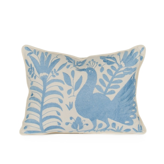 Sky Blue Otomi Pillow. Decorative Pillow. Artisan made.