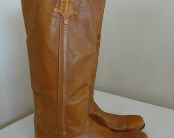 Vintage Tan Leather Womens Cowboy Boots Made In USA By 'Tony Lama' - UK Size 5.5