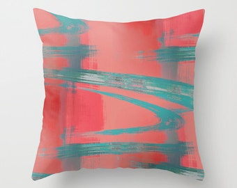 Abstract Throw Pillow Cover Teal Red Coral Grey Modern Home Decor Living room bedroom accessories Cushion Decorative Pillow Cover