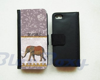 Elephant Floral in Gray iPhone 7, iPhone 6 Wallet Case, iPhone 6 Plus, iPhone 5, iPhone 5s, iPhone 4, iPhone 4s, Leather Case, Flip Case