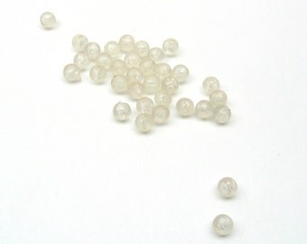 Clear Beads - Small Round Clear Beads - 34 Plastic 4mm Beads - Beading Supplies - Transparent Beads - Bead Destash - Jewelry Supplies