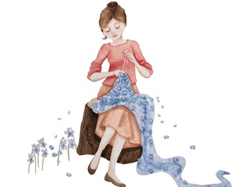 Sewing illustration. Girl Sewing Illustration. Dressmaking Illustration. Stitch by Stitch.