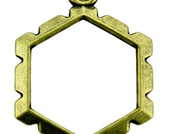 Wrapper Hexagon by Artistic Wire Antique Brass Color (Pkg of 5) (810AB-08)