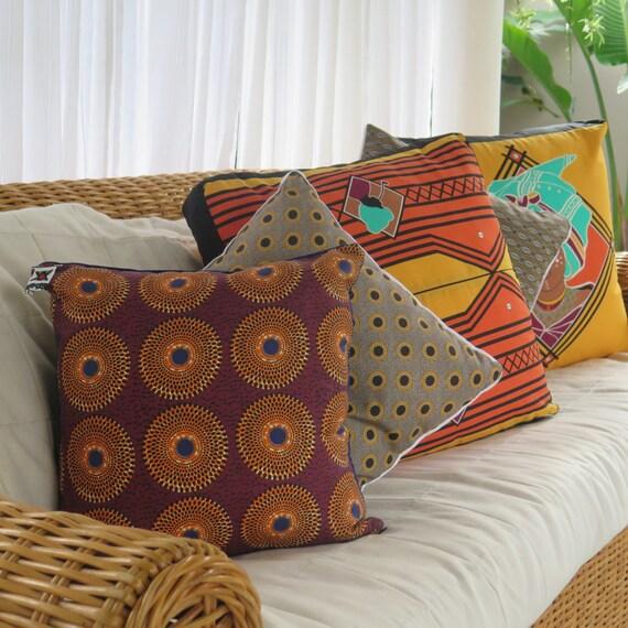 Tribal Cushion Marsala, Saffron & Navy South African Fabric / African Sun