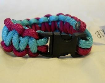 Sky Blue and Fuschia Pink 6.5 Inch Paracord Bracelet Item #131