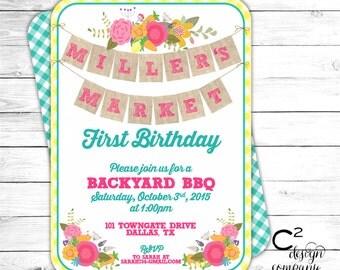 Floral Market Birthday Invitation