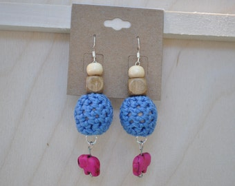 Elephant Earrings - Unique Jewelry - Bead - Blue and Fuchsia