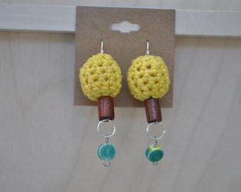 Crochet Earrings - Jewelry - Yellow - Green