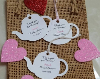 "Personalized Wedding or Bridal Shower Tea  Favor Tags 2"" Wedding tags, Thank You tags, Favor tags, Bridal Shower Favor Tags, tea party"