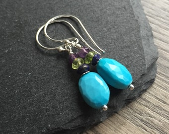 Turquoise earrings, natural turquoise, december birthstone earrings, turquoise gift, turquoise jewellery, new