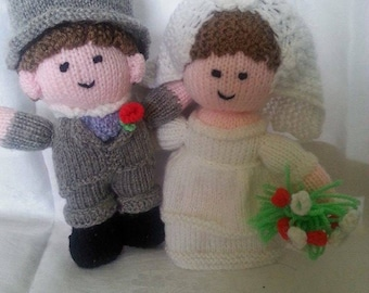 Hand Knitted Bride and Groom dolls