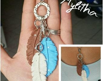 Necklace feathers Tri Color 1