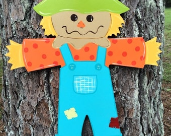 fall Scarecrow door hanger, wooden door hanger