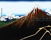 Thunderstorm Beneath the Summit - From the series Thirty-six Views of Mount Fuji - 冨嶽三十六景  山下白雨, Ukiyo-e woodblock print.