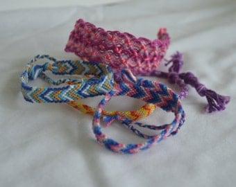 lot of five various macrame bracelets