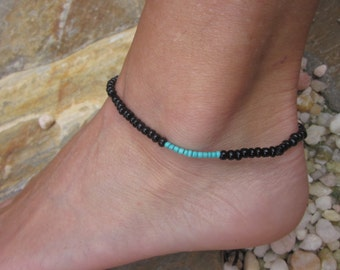 anklet Black anklet turquoise anklet mens anklet women's anklet seed beads bohemian anklets custom stretch minimalist yoga beaded anklet