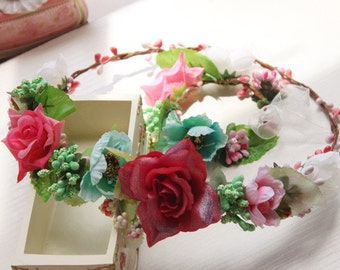 Girls Flower Crown, Bridal Flower Headband, Hair Accessories - Bridal Flower Crown Red, Teal. Pink Green Flowers Headband
