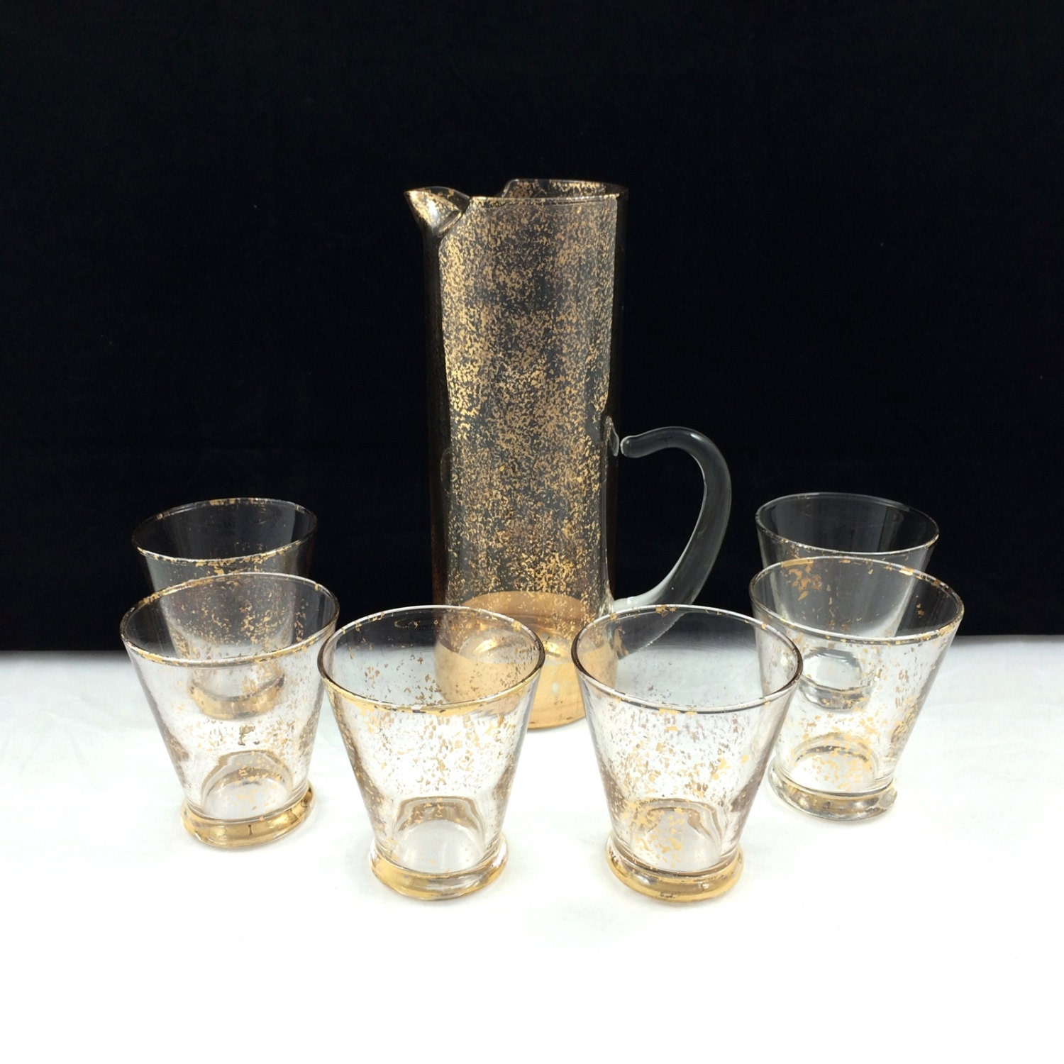vintage gold confetti martini barware set with by